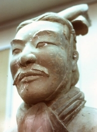 A terracotta soldier with mustache