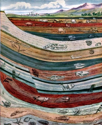 Geologic layers of the Earth's underground