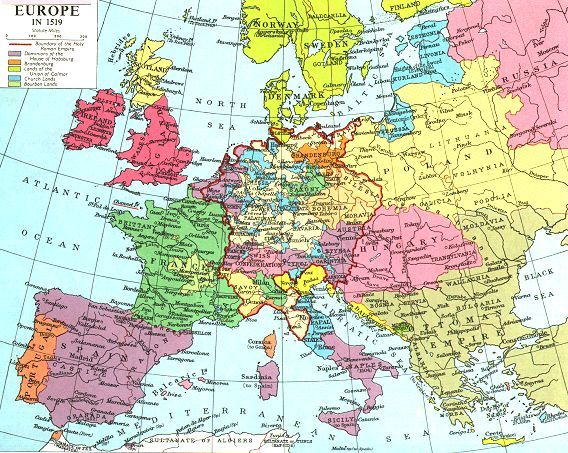 Map of Europe in 1519