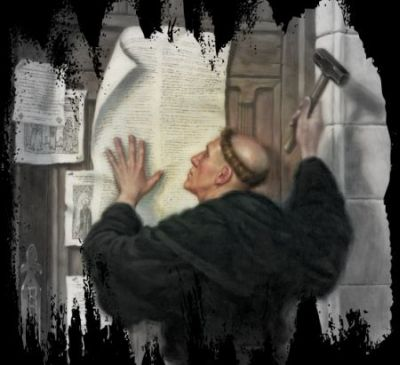 Martin Luther states  his 95 theses on the church door in Wittenberg