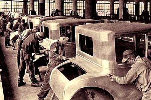 Division of labor in a automobile factory