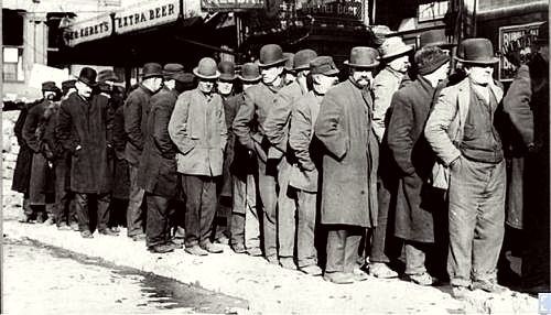 Unemployed queuing in front of the relief office New York 1929