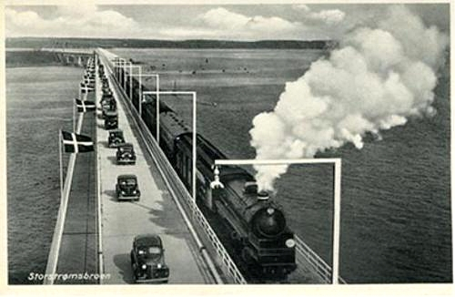 The inauguration of the Storestrom bridge on postcards