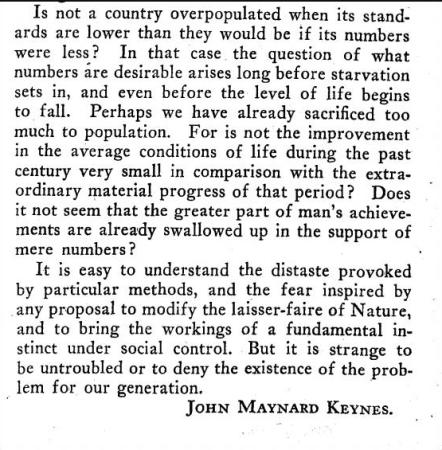 Excerpt from article by Keynes on Population