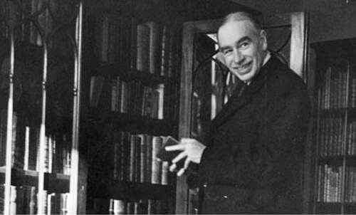 Keynes in front of his bookcase