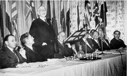 Keynes speaks at the Bretton Woods conference in 1944