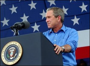 President Bush makes a speech at the White House
