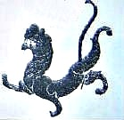 Potent lion on decoration in an excavated house from Han Dynasty