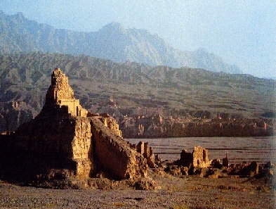 Ruined city in the desert near Turfan in the Chinese province Xin Jiang