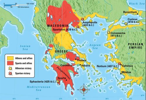 The Peloponnesian War. Athens and its allies are in red, and Sparta and its allies are in blue