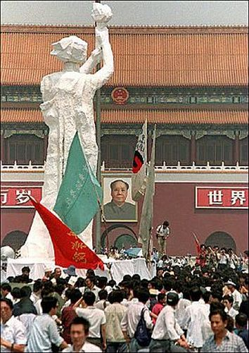 The goddess of freedom on the Tiananmen Square