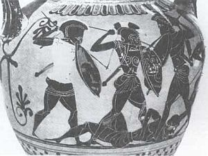 The Peloponnesian War on a Greek vase