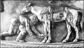 A sarmatian and his horse, from a tomb at Pazyryk 400 BC