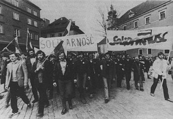 The workers Union Solidarity demonstrates 3. of May 1982 in Gdansk in Polen