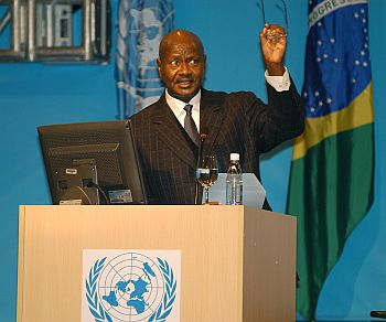 Yoweri Museveni makes a speech in the UN