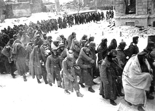 German soldiers surrender at Stalingrad in February 1943 - the battle of Stalingrad was the turning point of the war