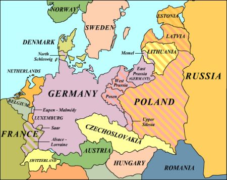 The Versailles Treaty's  European map