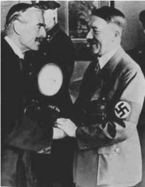 Neville  Chamberlain and Adolf Hitler in Munich