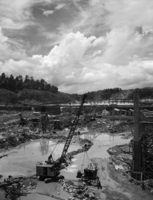 The construction of Douglas Dam, which was part of the Tennessee Valley Project