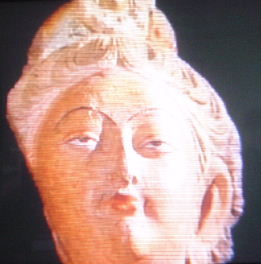 Fair-haired bodhisattva from mural near Kucha