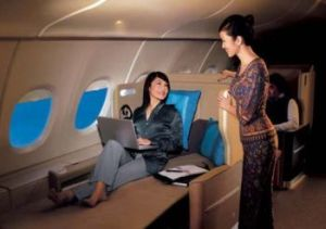 Det new offer for business travellers- private completely flat bed business class