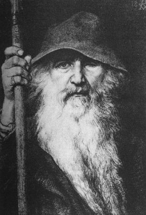 The god Odin with the spear Gungner- painting of Georg von Rosen 1886