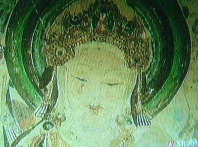 Bodisatva with blond hair and blue eyes from Dunhuang cave 57 - or is it a queen? - from Tang Dynasty