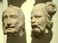 To faces found at Hadda - en Kushan excavation in Afganistan.