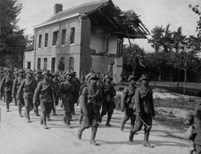Garhwal Rifles is marching on La Basse Road, France, August 1915.