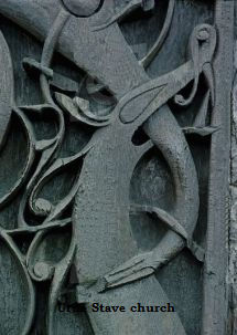 Carvings on Urne stave church in Norway
