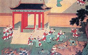 The Confucian philosophers being buried alive and their books burned