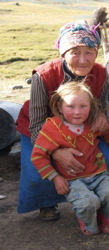 Blond little girl from Tuva near Mongolia