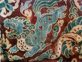 Lion on  woven silk carpet from the Liao Empire