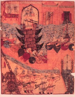 Hulegu's army besieging a Persian City - Persian drawing
