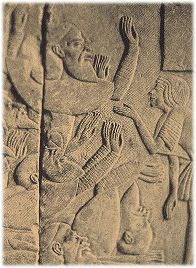 The sea people attacked Egypt around 1200 BC - Egyptian stone carving