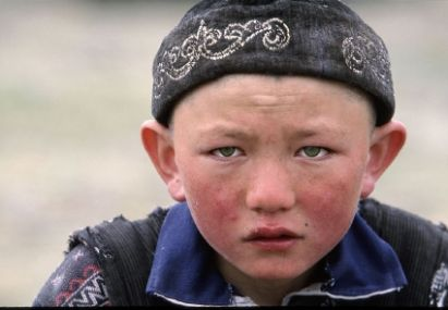 Kirgisian boy with blue eyes
