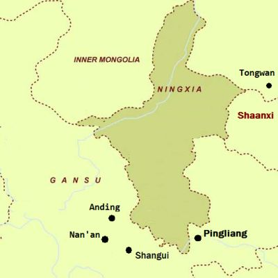 Map showing Ningxia and the southeastern Gansu