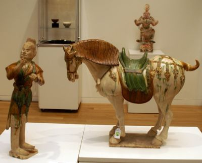 White horse and horse keeper with yellow hair - Glazed ceramics from Tang Dynasty - privately owned.