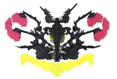 An inkblot of unknown origin - it looks like a Rorschach card