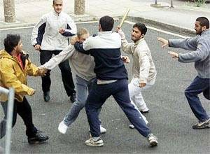 Muslims attacking an ethnic Englishman