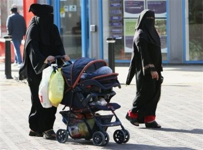 Two Muslim women shopping in the English city of Blackburn