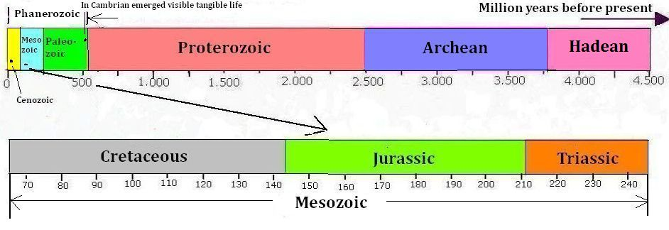 The geological periods of Mesozoic