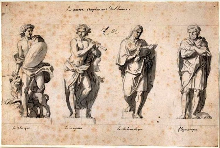 The four temperaments on drawing from the 1600's