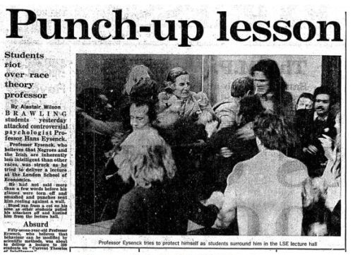 Eysenck is attacked by members of a Maoist student group