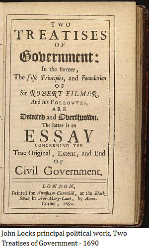 John Locks principal political work, Two Treatises of Government - 1690