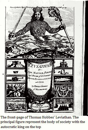 The front-page of Thomas Hobbes' Leviathan. The principal figure represent the body of society with the autocratic king on the top