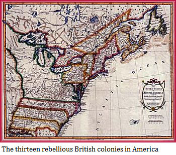 The thirteen rebellious British colonies in America