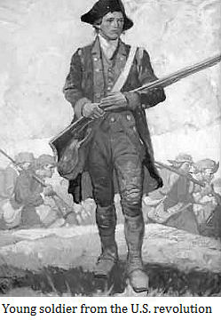 Young soldier from the U.S. revolution