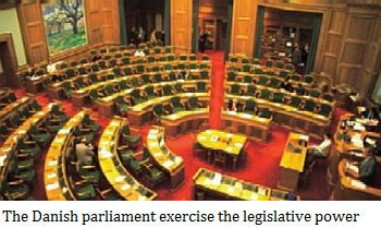 The Danish parliament exercise the legislative power