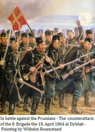 The  counterattack of the 8. Brigade the 18. April 1864 at Dybb�l - Painting by Wilhelm Rosenstand